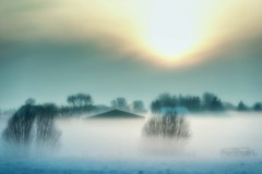 In Farbe (dubdream) Tags: winter sky sun house snow tree field fog barn fence germany nikon ngc schleswigholstein landcape d800 colourimage dubdream