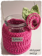 Crochet Jar cosy (fee@chippernelly) Tags: pink wool glass rose cozy day mason crochet mothers yarn jar cosy