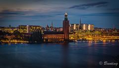 Stockholm City Hall at night from Skinnarviksberget (stevebfotos) Tags: hdr riddarfjrden night photomatix stockholm stockholmcityhall skinnarviksberget sweden longexposure stockholmsln se