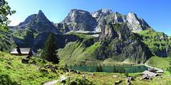 Bannalp (Priska B.) Tags: panorama bannalp nidwalden nw kanton berge berg himmel blau fels stausee see alpensee bergsee spiegelungen staumauer kapelle bergkapelle