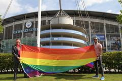 Etihad rainbow flag raising  (40) (villagemanchesterfc) Tags: rainbowflag manchestercity manchestercityfc manchestercityfootballclub football soccer gayfootball gaysoccer gay homosexual bisexual canalstreetblues etihadstadium