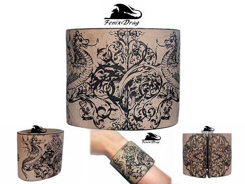 Bracelet dragon natural leather wide cuff bangle Baroque