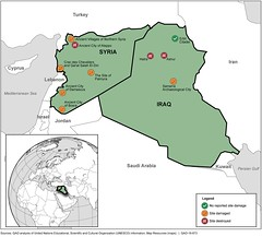 Figure 2: Reported Damage at United Nations Educational, Scientific and Cultural Organization's (UNESCO) World Heritage Sites in Iraq and Syria, According to UNESCO (U.S. GAO) Tags: gao governmentaccountabilityoffice usgovernmentaccountabilityoffice usgao unitedstatesgovernmentaccountabilityoffice government congress watchdog oversight governmentwatchdog gao16673 culturalproperty 1954hagueconvention 1970unescoconvention aamd associationofartmuseumdirectors cbp uscustomsandborderprotection chc culturalheritagecenter cpia conventiononculturalpropertyimplementationact dod departmentofdefense dhs departmentofhomelandsecurity doj departmentofjustice eousa executiveofficeforunitedstatesattorneys fbi federalbureauofinvestigation ice usimmigrationandcustomsenforcement icom internationalcouncilofmuseums interior departmentoftheinterior interpol internationalcriminalpoliceorganization iraqiculturalantiquitiesact isis theislamicstateofiraqandsyria ngo nongovernmentalorganization smithsonianinstitution departmentofstate departmentofthetreasury uk unitedkingdom un unitednations unesco unitednationseducationalscientificandculturalorganization usaid usagencyforinternationaldevelopment