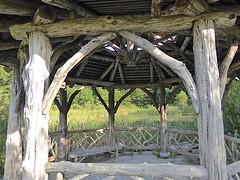 Cedar Shelter (flickr flame) Tags: cedar logs sticks branches rustic pavilion shelter gazebo symmetry landscape