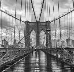 Brooklyn (Ben Colorblind) Tags: brooklyn rain bridge ny newyork walking people crossing architecture