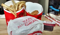 Chicken Sandwich, Chicken Nuggets, Fries And BBQ Sauce. (dccradio) Tags: lumberton nc northcarolina robesoncounty food eat meal wendys fastfood takeout drivethru crispychicken sandwich frenchfries fries potatoes wrapper wrapped chickennuggets bbqsauce barbecuesauce barbquesauce straws