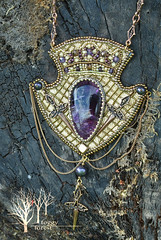 Royal swords necklace (~Gilven~) Tags: foggyforest fluorite purple swarovski swarovskipearl japanesebeads jewelry jewelryfindingsbyannachernykh naturalleather crown medieval pearl pendant pendent embroidery bead beads beading beadembroidery gold