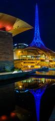 2016 PHOTOCHALLENGE, WEEK 38: MIRRORED WATER REFLECTIONS (Honeydew Lake) Tags: melbourne 2016photochallenge artscenter mirror reflection water lights panorama smooth silky