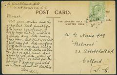 Archiv H304 Postkarte aus Auckland (back) vom 24. September 1910 (Hans-Michael Tappen) Tags: archivhansmichaeltappen auckland newzealand neuseeland ephemera handschrift text briefmarke stamps poststempel 1910er 1910s 1910 yellowgreen edwardvii postkarte postcard