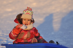 Winter Girl (Serega Ivanov) Tags: girl caucasian female child evening sunset outdoors winter snow playing sledge