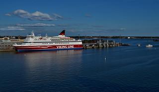 Helsinki harbour. Viking line Gabriella, cruise ferry.