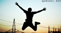 Learning To Fly (Anshul Roy) Tags: sunset fly flying jump jumping nikon joy happiness excitement nikond3200