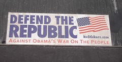 Election 2012, Anti-Obama, Bumper Sticker (photolibrarian) Tags: bumpersticker antiobama election2012 defendtherepublicagainstobamaswaronthepeople