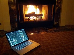 Coding by the fire (tux0racer) Tags: fire fireplace laptop coding