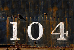 One Zero Four (Junkstock) Tags: california old railroad texture abandoned closeup typography photography photo graphics junk rust iron paint industrial graphic photos decay rustic rusty trains number textures machinery photographs numbers photograph rusted type campo americana weathered locomotive aged artifact distressed corrosion patina relic oldstuff oldandbeautiful oldusedobjects altebenutztegegenstnde
