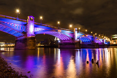 Southwark Bridge Illuminations (Torsten Reimer) Tags: uk longexposure bridge england sky london thames night reflections river lights colours unitedkingdom streetlamp illumination stpaulscathedral blackfriarsbridge london2012olympics