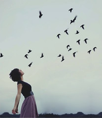 To let go (Alyssa Zo Amaro) Tags: portrait woman black girl birds silhouette set self peace dress purple personal live go flock young free teen week let 52 43 symbolism taught misconception
