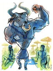 Daedalus Beach (Leviathan League) Tags: beach ink watercolor painting artwork hunk beast bodybuilder mythology sunbathers minotaur greekillustration