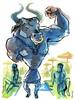 Daedalus Beach (Leviathan League) Tags: beach ink watercolor painting artwork hunk beast bodybuilder mythology sunbathers minotaur greekillustration