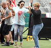 Guadalupe Rodriguez, Jennifer Lopez's mother, dances on the football pitch at the Pre
