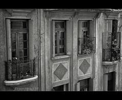 Balconies (Argentina) (departing(YYZ)) Tags: city travel blackandwhite bw window latinamerica southamerica argentina architecture buenosaires nikon balcony sigma 1770 santelmo 2012 2011 sudamérica d90 f2840 departingyyz