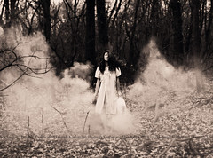 A dream within a dream. (Katharine Hannah.) Tags: trees winter blackandwhite mist selfportrait girl leaves forest woods poem bokeh branches smoke pillow teen bombs rugged nightgown edgarallanpoe unsaturated katharinehannah itwasmyshoedontworry whatdidijustbreak