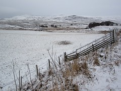 The view towards Amulree (Andy Worthington) Tags: trees winter snow scotland highlands frost perthshire fences hills fields amulree a822