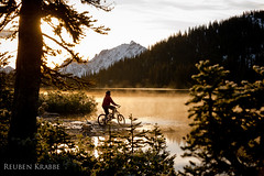 Krabbe-2012-Tearsheets-2443 (Reuben Krabbe) Tags: blue portrait sky sun mountain lake selfportrait snow fall bike self pond cabin snowy pass meadows first peak sunny alpine biking reuben bluebird peaks pemberton hurley bikers krabbe tenquille pembertonmeadows