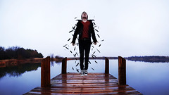 Ascend (Zack Ahern) Tags: blue portrait lake rain self jump dock feathers converse zack ahern ascend 2013