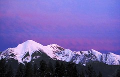 grainy evening (green rumble) Tags: pink blue trees winter sunset snow mountains cold nature clouds outdoors evening woods scenery montana purple natural commute rockymountains wilderness coldweather mountainpeaks eveningmountains