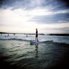 Jack in the surf (Kerrie McSnap) Tags: ocean summer 120 film beach mediumformat square holga lomo lomography surf waves toycamera surfing oceangrove