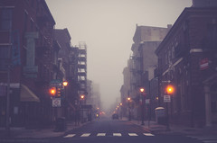 transformation (nardell) Tags: street mist philadelphia fog amber cityscape cross empty pa caution intersection crosswalk chestnutstreet cityscenes yellowlight decide oldcityphiladelphia mistopportunity
