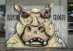 Angry Hippo (J-C-M) Tags: street streetart art wall painting graffiti alley nikon paint grafitti artistic fitzroy australia melbourne wallart victoria spray alleyway lane laneway d200 aerosol makatron