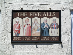 The Five Alls (pefkosmad) Tags: fivealls pub publichouse bar sign name innsign pubsign inn building chepstow monmouthshire wales hockerhillstreet hill soldier bishop monarch lawyer johnbull georgian cobbledstreet quaint outdoor alcohol drinking gradeiilistedbuilding