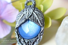 Fantasy Elvish Magical Amulet pendant   Silver and blue color necklace   Polymer Clay handmade jewelry   Crystarbor Creations (Crystarbor creations) Tags: polymerclay crystarbor crystarbocreations etsy fimo pendant etsyshop etsyseller handmade handmadenecklace craft polymerclaycharms leaf woodland elven treeoflife leafnecklace fantasy