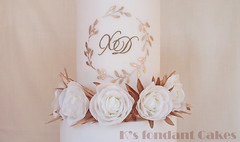Olive branches & Roses Wedding Cake ~    :  &  (K's fondant Cakes) Tags: weddingcake wedding white gold olive branches leaves wafer paper waferpaper chic greek         roses     fondant