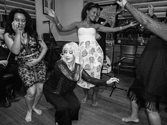 (heatherbirdtx) Tags: women dance bellydance candid jam restaurant live music musicians party flash blackandwhite yahallayall2016 isis convention grapevine texas