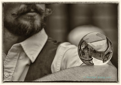 Street Performer (Marlscat) Tags: edinburgh edinburghfestival edinburghfringe streetperformer scotland royalmile nikond5300 blackandwhite blackwhite crystalball streetphotography