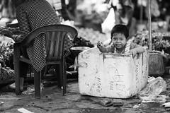 Kid in a polystyrene box at the market, Sapa - Vietnam (leonardrodriguez) Tags: vietnam vietnamese vietnamien vietnamienne vietnamiens vietnamiti vietnamita people bw black white nb noir blanc blackwhite noirblanc asie asia polystyrene lao cai sapa