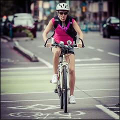 Laurier Bike Lane cyclist (Dan Dewan) Tags: dandewan bicycle canon7dmarkii canonef70200mm14lisusm street 2016 september colour summer ottawa sunday  laurieravenue woman photographist ontario canon glasses portrait lady bike