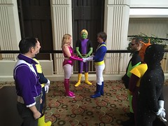 Legion of Superheroes (Adam Antium) Tags: legion superheroes photo shoot dragon con 2016 brainiac 5 costume cosplay adam antium spandex lycra five coluan green make up makeup tight tights black purple yellow wig flight ring lightning lad matter mater eater polar boy saturn girl star 31st century future 31 time travel