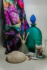 Still life with a green bottle (Alexander Pugatschewski) Tags: stil llife green bottle sinks background fabric texture structure shell snail scallop shadow light bunch grape coarse glass mat shank scarf color fringe
