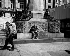 Checking His Phone - Newcastle (Richard James Palmer) Tags: mamiya7ii mamiya 7ii 80mm ilford hp5 ilfordmicrophen microphen ishootfilm shoot film iso 400 iso400 ilfordhp5 f4 newcastle northeast north east street photography streetphotography portrait black white rangefinder medium format 120 filmisnotdead analogue documentary epsonperfectionv700 epson v700 1125 newcastleupontyne upon tyne tyneandwear northern uk england urban melancholy art fineart new isolated walkabout 2016 gritty abstract trapped blackandwhite monochrome
