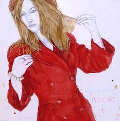 Ruth In My Red Coat (larosecarmine) Tags: fashion model drawing red coat watercolour conte crayon clairefontaine cartridge papier
