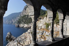 Portovenere Castle View (james_savage95) Tags: italy portovenere castle view foreground background focus tuscany holiday travel tour boat exploring explore sea water mediterranean mountain cliff marble geology rock rocks canon 100d eos weathered columns arch brick old europe national park