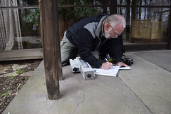 During his consultancy, Ron Anthony takes notes of the resistance drilling test. (The Architectural Conservation Laboratory -) Tags: resistancedrill woodinspection ronanthony pathway poles newhope pennsylvania