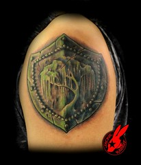 Willow Tree Shield Tattoo by Jackie Rabbit (Jackie rabbit Tattoos) Tags: city tree tattoo star virginia 3d cool ancient colorful pretty good antique awesome great creepy willow roanoke va armor shield realistic jackierabbit