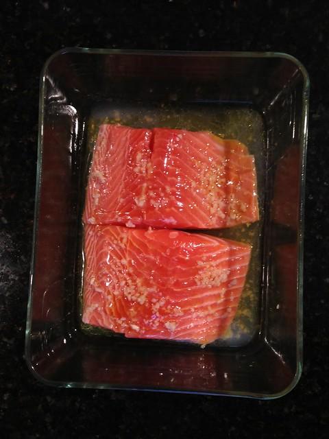 Fresh Fish To You - Garlic, olive oil, rice wine vinegar, honey, and white wine.
