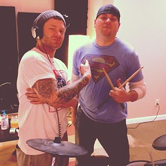 """Recording with this wild animal of a drummer!! -- T Squared Homewrecker #mindbenderstudio #hotstix #urbanrockproject • <a style=""""font-size:0.8em;"""" href=""""https://www.flickr.com/photos/62467064@N06/8391253764/"""" target=""""_blank"""">View on Flickr</a>"""