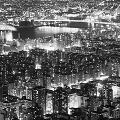 Manhattan East Side (Adam Garelick) Tags: city nyc newyorkcity winter blackandwhite 120 6x6 film monochrome architecture night mediumformat manhattan midtown empirestatebuilding 100 fujineopanacros 2013 fixedshadows ilfordilfosol3 238m73